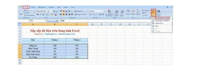 Cách Sort trong Excel 2007