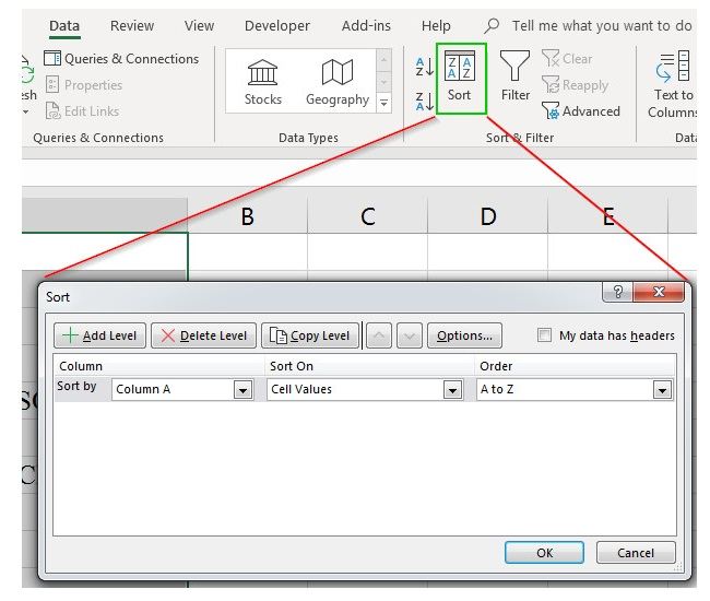 Cách Sort trong Excel 2010