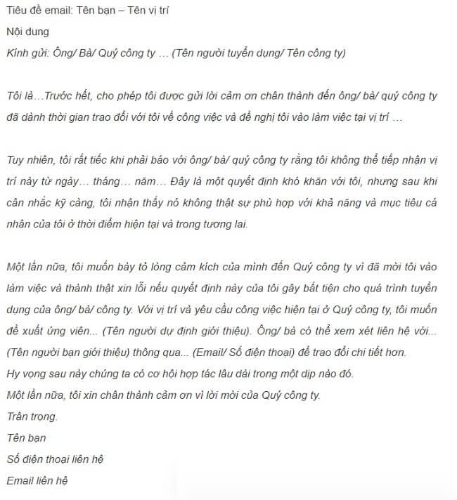 Bản mẫu thư từ chối nhận việc
