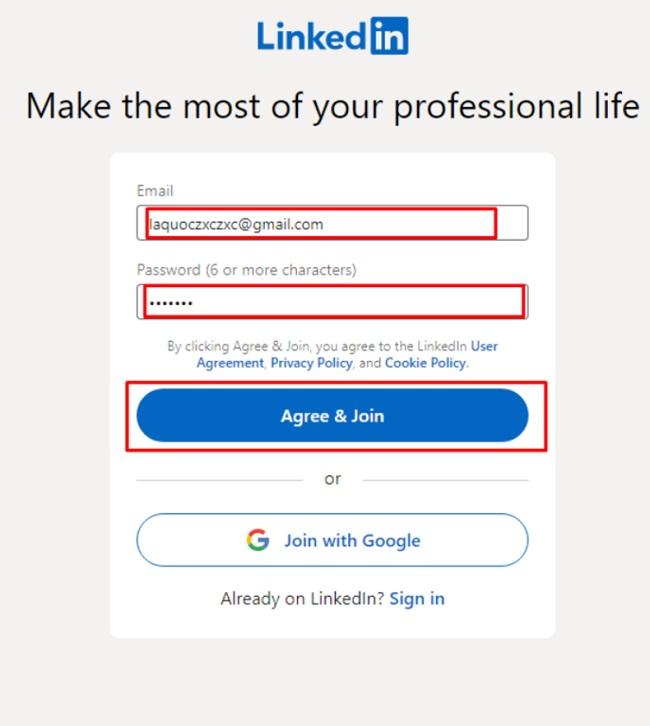 Cách đăng nhập LinkedIn