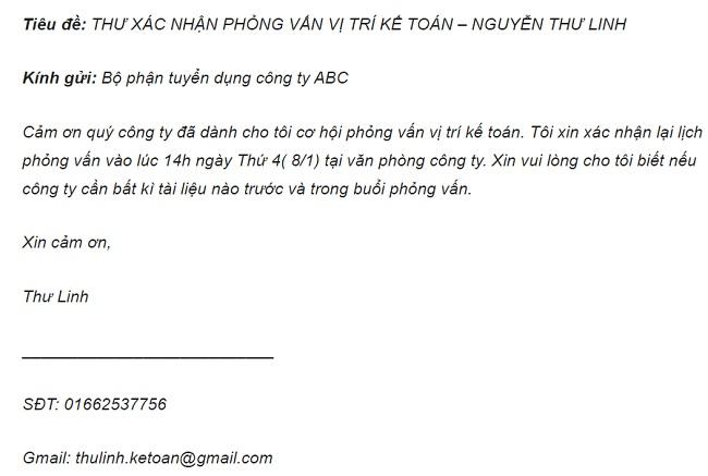 mẫu trả lời thư mời phỏng vấn qua email