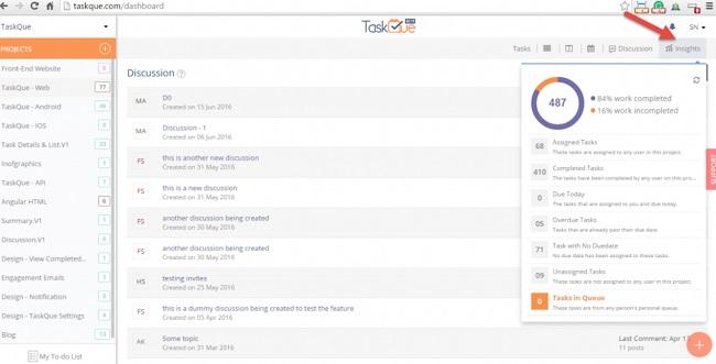 Phần mềm quản lý công việc miễn phí Taskque