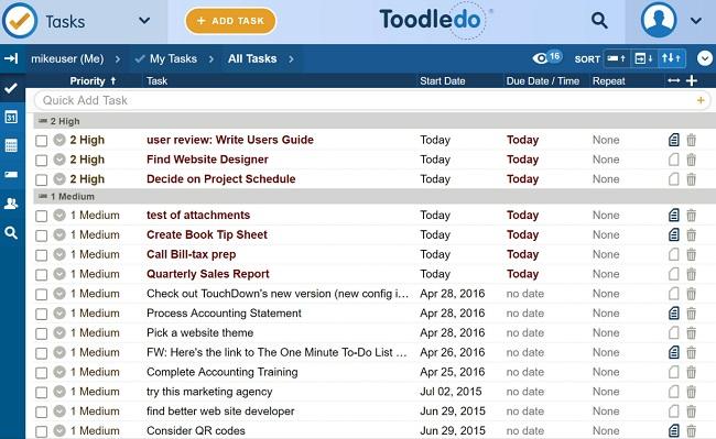 Phần mềm quản lý công việc miễn phí Toodledo